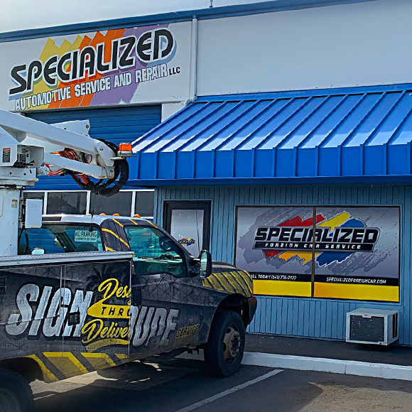Specialized Automotive Service and Repair - building sign and window decals